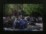 [Students eating outside University Center]