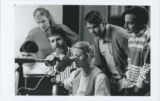 [Dr. John Kloetzel with students in Electron Microscopy Suite]