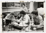 [Students working on an experiment in the biology lab]