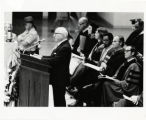 [Commencement, 1972, Louis L. Kaplan at podium]