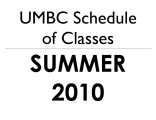 Schedule of classes (Summer 2010)