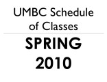 Schedule of classes (Spring 2010)
