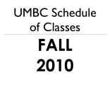 Schedule of classes (Fall 2010)