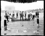 [Crew working on Lincoln Memorial Reflecting Pool, Washington, D.C.]