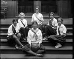 [Group portrait of Girls' Latin School purple basketball team]