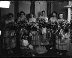 [Group portrait of bridal party of Leatherbury wedding]