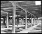 Showing flat roof framing above filter beds bet. North & South gallery- filter bldg. Lake...