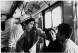 [Carlotta Walls and Minnijean Brown talk on the subway, New York, NY, 1958]