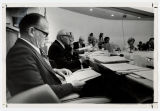 [Wilson Elkins, Louis Kaplan, and others at University of Maryland Board of Regents meeting, 1972]