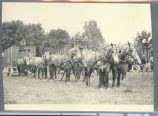 [Horses pulling wagon carts in field]